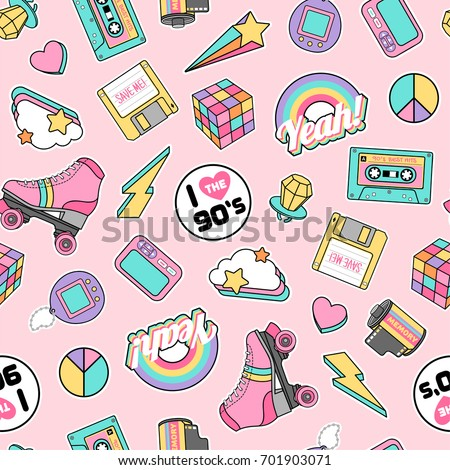 Cute pastel gadget illustration seamless pattern with pink background in retro concept