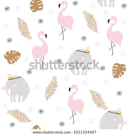 stock-vector-cute-pastel-seamless-pattern-with-african-animals-and-gold-tropical-leaves-vector-hand-drawn