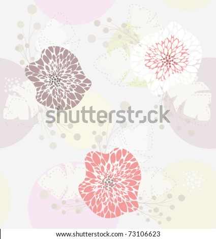 Cute pastel spring floral pattern - stock vector
