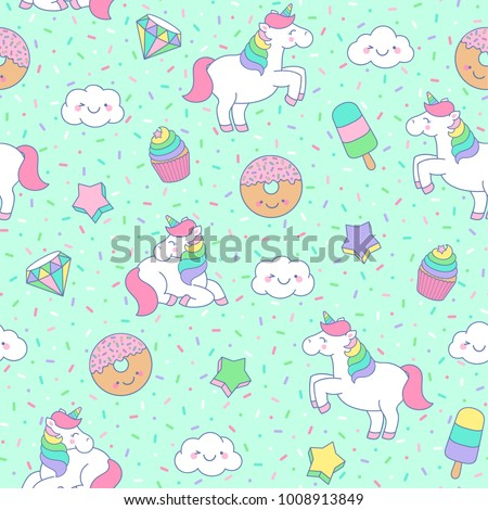 Cute pastel unicorn, dessert, star, cloud seamless pattern with sprinkles background