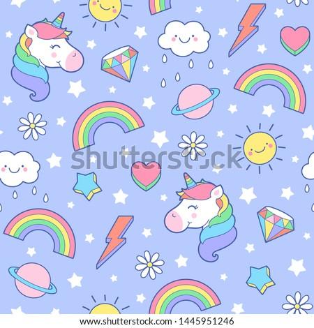 Cute pastel unicorn, rainbow, diamond, saturn, thunder, sun and heart seamless pattern with star background.