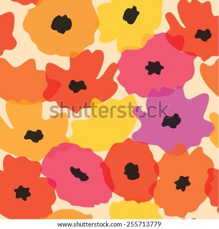 Cute pastel watercolor poppies seamless pattern