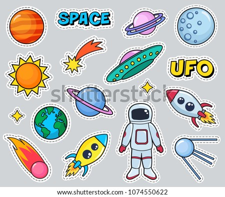 Cute patches set with space cosmonaut planets sun earth rockets spaceships moon ufo comet satellite and stars on gray background. Fashion stickers, cartoon 80s-90s style. Vector illustration