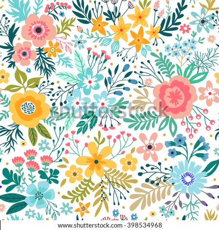 Cute pattern in small abstract flower. Beautiful colorful flowers. White background. Spring floral background. Design concept for fashion print.