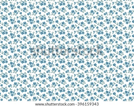 Cute pattern in small flower. Small blue flowers. White background.  Small cute simple spring flowers. Seamless floral pattern.