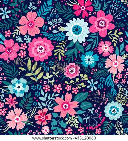 Cute pattern in small flower. Small colorful flowers. White background. Ditsy floral background. The elegant the template for fashion prints. #433120060
