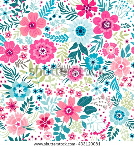 Cute pattern in small flower. Small colorful flowers. White background. Ditsy floral background. The elegant the template for fashion prints.
