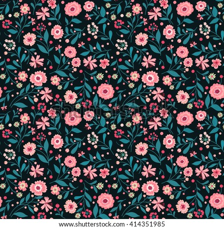 Cute pattern in small flower. Small pink flowers. Black background. Spring floral background. The elegant the template for fashion prints.