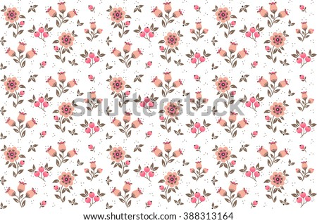 Cute pattern in small flower. Small pink flowers. White background. Floral seamless pattern.  Design concept for fashion textile print.