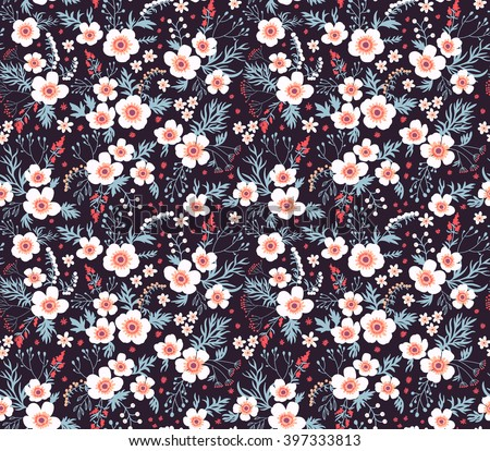 stock vector cute pattern in small flower small white flowers black background seamless floral pattern 397333813 - Каталог — Фотообои «Цветы»
