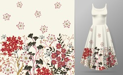 Cute pattern in small simple flowers. Seamless background and seamless border. An example of the pattern of the dress mock up. Vector illustration. Red black on white.