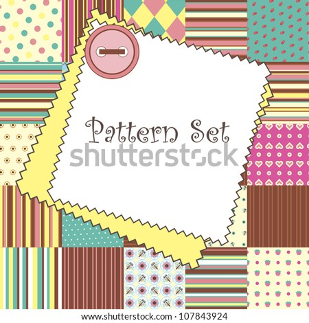 cute pattern set. vector illustration - stock vector