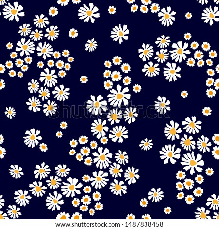 Cute pattern with daisies and chamomiles. Seamless vector print with small flowers. Summer textile collection. Stockfoto ©