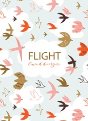 Cute pattern with flying birds in the sky with place for your text. Animal print design for greeting card, flyers, banners and posters. Vector hand-drawn background with cloud frame and birds.
