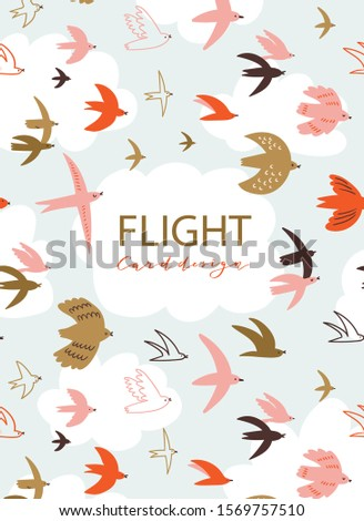 Cute pattern with flying birds in the sky with place for your text. Animal print design for greeting card, flyers, banners and posters. Vector hand-drawn background with cloud frame and birds. stock photo