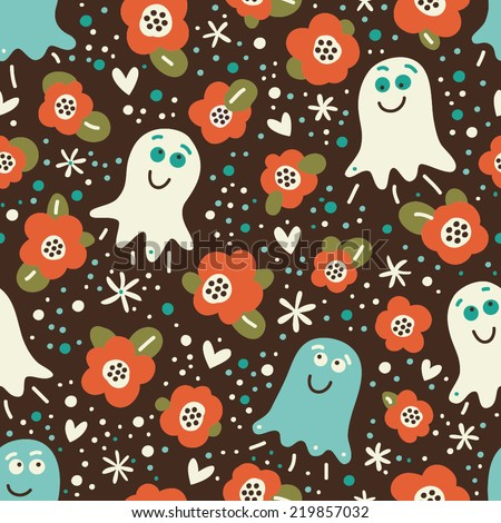 Cute pattern with ghosts and flowers. Seamless vector background for the holiday Halloween.