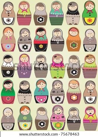 cute pattern with matryoshka