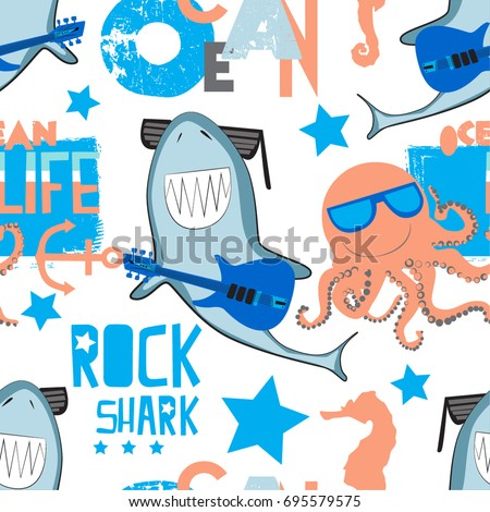 cute pattern with rock shark
