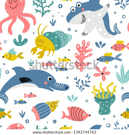 cute pattern with sea animals