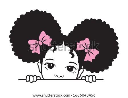 Cute peekaboo black girl with afro puff hair vector illustration. Stockfoto ©