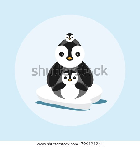 cute penguin family on ice floe
