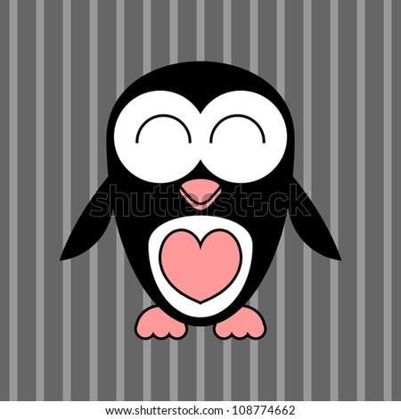 cute penguin greeting card