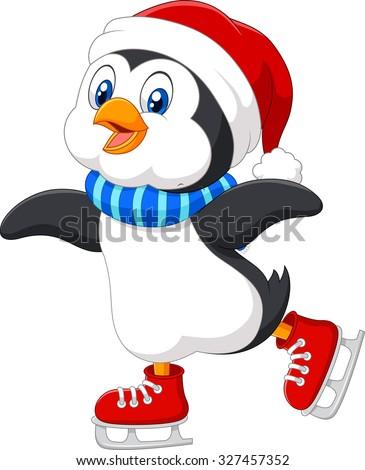 cute penguin ice skating