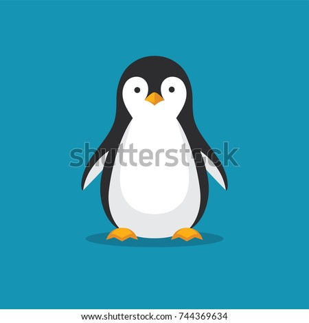 cute penguin icon in flat style