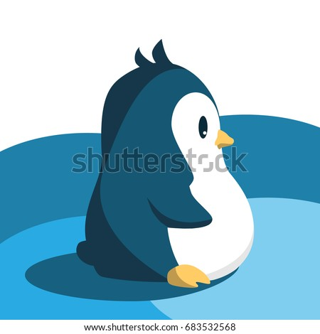 cute penguin in cartoon style