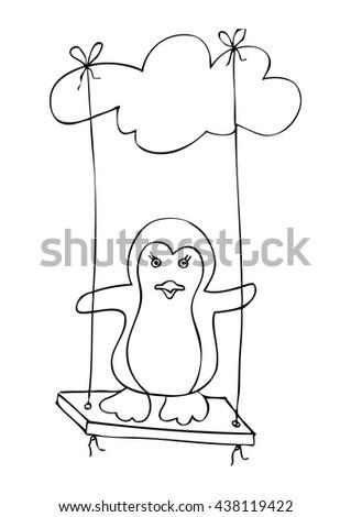 cute penguin in swing cartoon