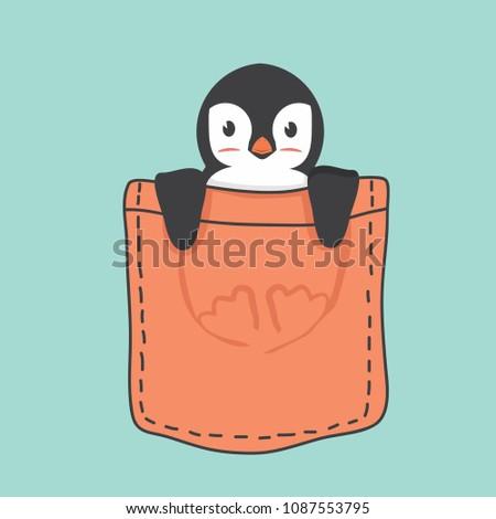 Cute Penguin inside the pocket