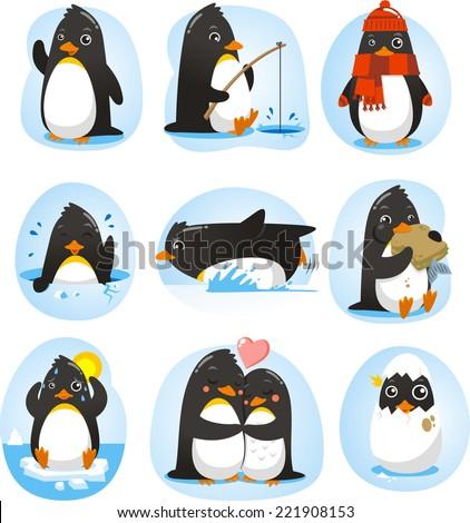 cute penguin set of