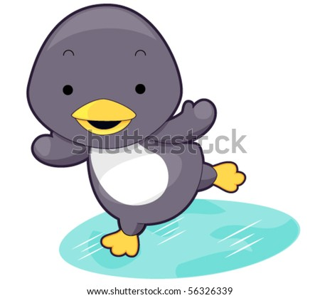 Cute Penguin - Vector - stock vector
