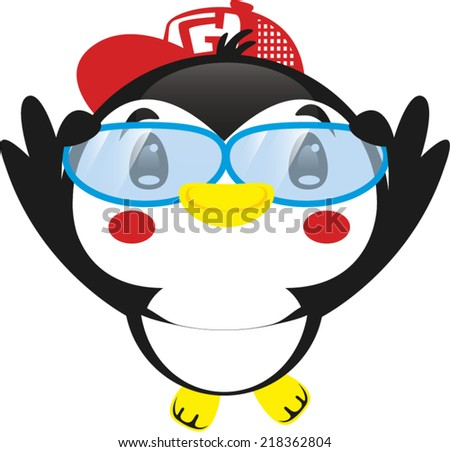 cute penguin with glasses and