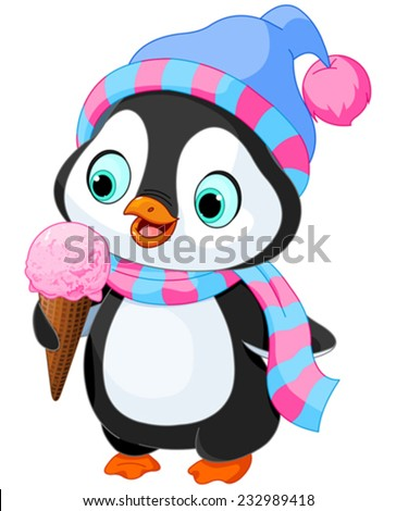 cute penguin with hat and scarf