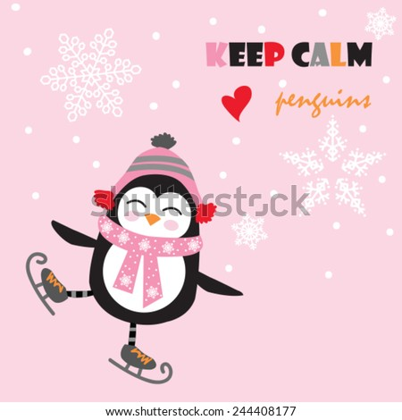 cute penguin with ice skate