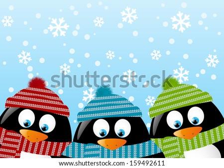 cute penguins on winter