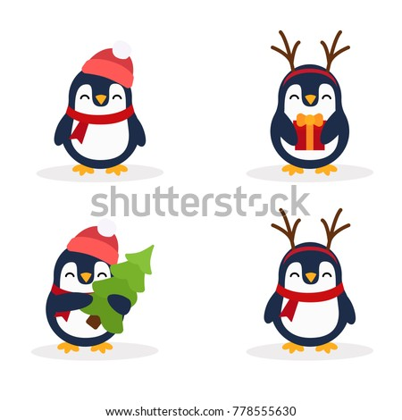Cute penguins set. Penguin with a gift. Penguin with horns. Penguin with Christmas tree. Penguin in hat and scarf. Set. Postcard for the New year and Christmas. Vector images in cartoon style