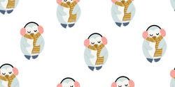 Cute penguins with headphones seamless pattern in minimalistic scandinavian style on white. Penguin character doodle. Winter kids seamless pattern