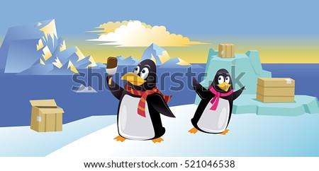cute penguins with ice cream