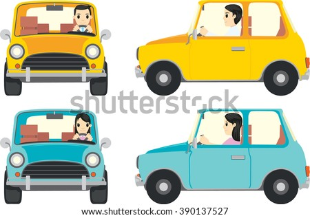 Cute People driving a small car in simple flat vector style
