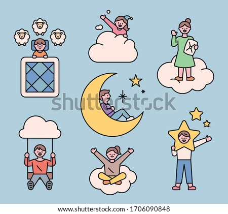 Cute people have various fantastic experiences in their dreams. flat design style minimal vector illustration.