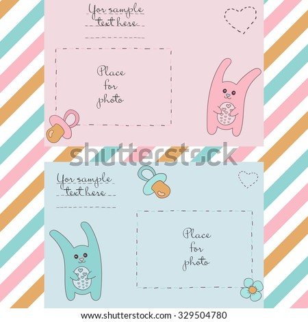 cute picture frames for baby boy and baby girl. Illustrations can be used in scrapbooking. The cutest Bunny pink and blue