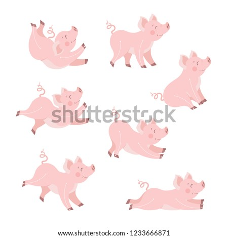 cute pig animation set cartoon