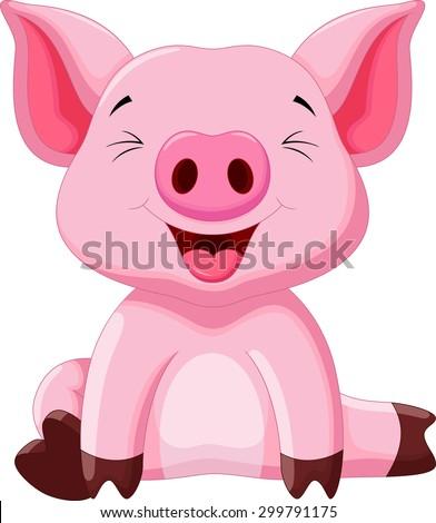 Cute pig cartoon #299791175