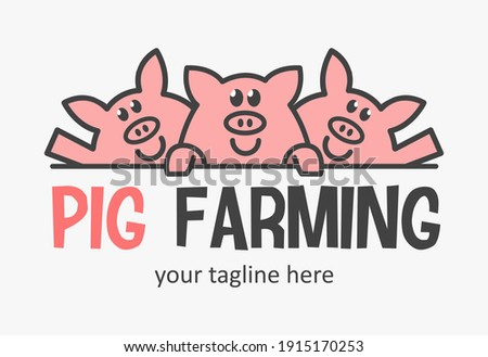 Cute pig farming logo with three funny pigs. Market pigs icon. Farmer sign.