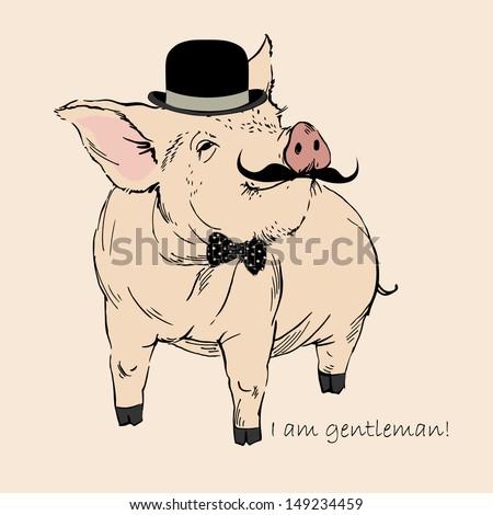 cute pig gentleman in bowler
