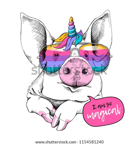 Cute Pig in a unicorn mask: rainbow glasses, mane, horn. I am so magical - lettering quote. Humor card, t-shirt composition, hand drawn style print. Vector illustration.