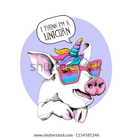 Cute Pig in a unicorn mask: rainbow glasses, mane, horn on a light violet background. I think i'm a unicorn  - lettering quote. Humor card, t-shirt composition, hand drawn style print.