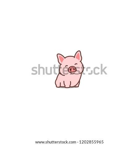 Cute pig smiling cartoon icon, vector illustration Stock photo ©